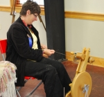 Sue Szary demonstrating her Spinning and Weaving at theSilk Hope All Out Art Invitational (12)